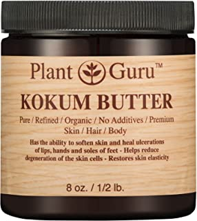 Kokum Butter 8 oz. 100% Pure Raw Fresh Natural Cold Pressed. Skin Body and Hair Moisturizer, DIY Creams, Balms, Lotions, S...