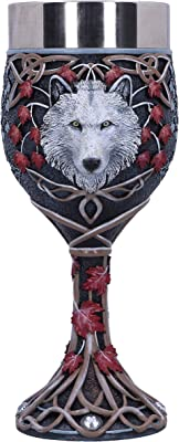 Nemesis Now White Lisa Parker Guardian of The Fall Autumn Wolf Goblet, 19.5cm