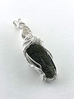 Moldavite gemstone pendant with Herkimer Diamond, wire wrapped in fine silver. Transformation Through Attunement to Pure Spiritual Light