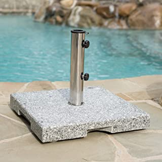 Christopher Knight Home 300378 Martino Outdoor Natural Grey Granite and Stainless Steel Umbrella Base