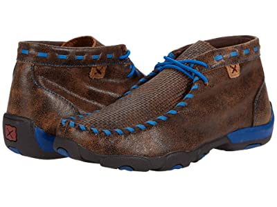 Twisted X Chukka Driving Moc (Little Kid/Big Kid) (Brown/Blue) Shoes