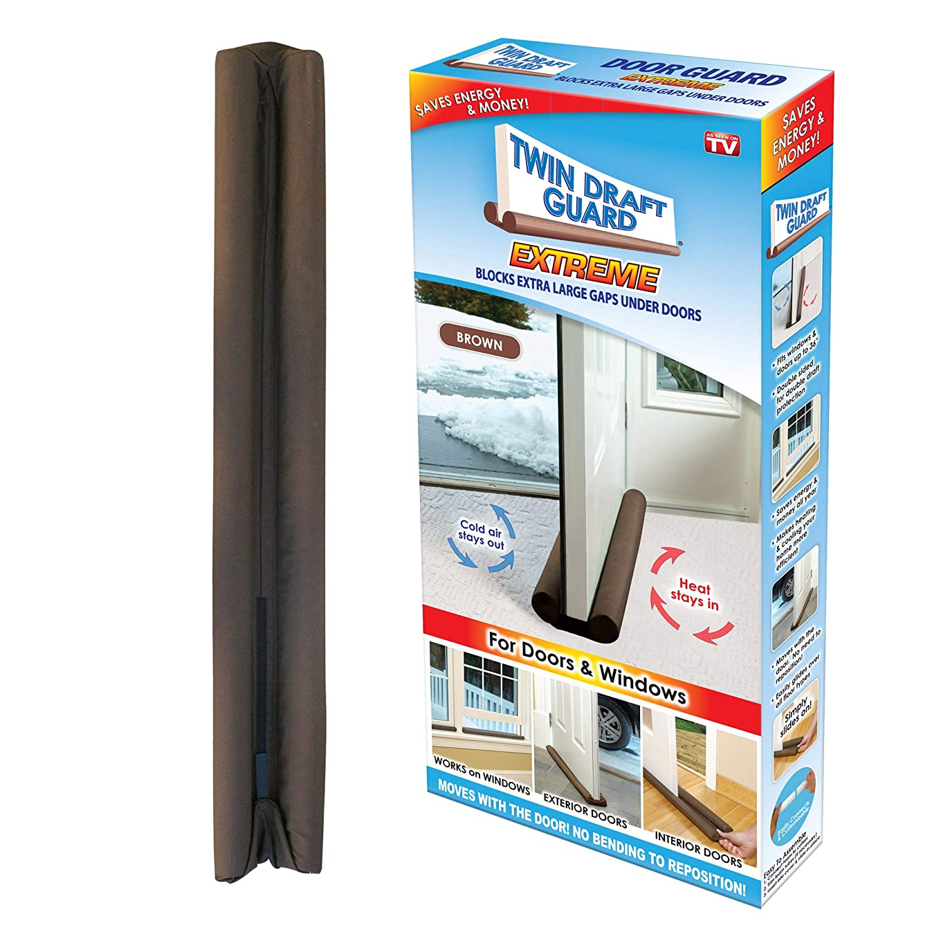 Twin Draft Guard Energy Saving Under Door Draft Stopper, Single, Brown