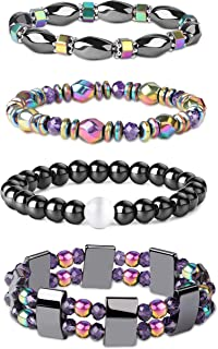 Jstyle 4Pcs Hematite Powerful Magnetic Bracelet for Arthritis Pain Releif Energy Reiki Healing Bracelet for Men Women