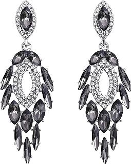 Beydodo Chandelier Earrings Wedding Cubic Zirconia Earrings Gold Plated Marquise Cut White Cubic Zirconia
