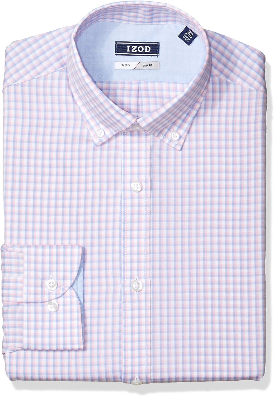 Ranking TOP1 IZOD Men's Dress Shirt Slim Max 79% OFF Check Fit Stretch