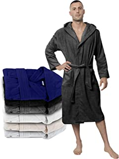Twinzen Bathrobe Men - 100% Turkish Cotton - No Chemicals, Hood, 2 Pockets, Belt, Soft, Absorbent