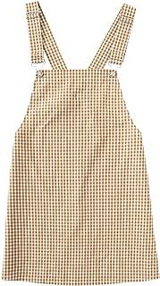 Women's Gingham Suspender Overall Pinafore Short Dress