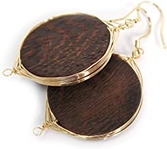 Wire Wrapped Natural Wood Dangle Drop Earrings Gold Plated 925 Sterling Silver Hook/Disc 25mm
