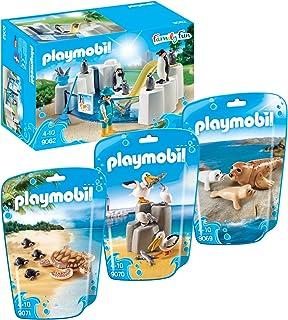 Playmobil 9062 Piscina pingüino con 9069 Sello con los bebés, familia Pelican 9070 y 9071