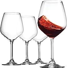 Bormioli Rocco 18oz Red Wine Glasses (Set Of 4): Crystal Clear Star Glass, Laser Cut Rim For Wine Tasting, Lead-Free Cups,...