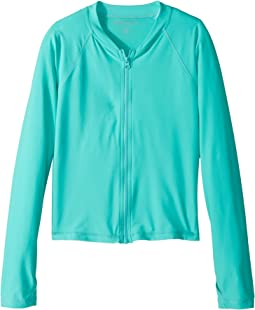 Seafolly Kids - Summer Essentials Long Sleeve Zip Rashie (Little Kids/Big Kids)