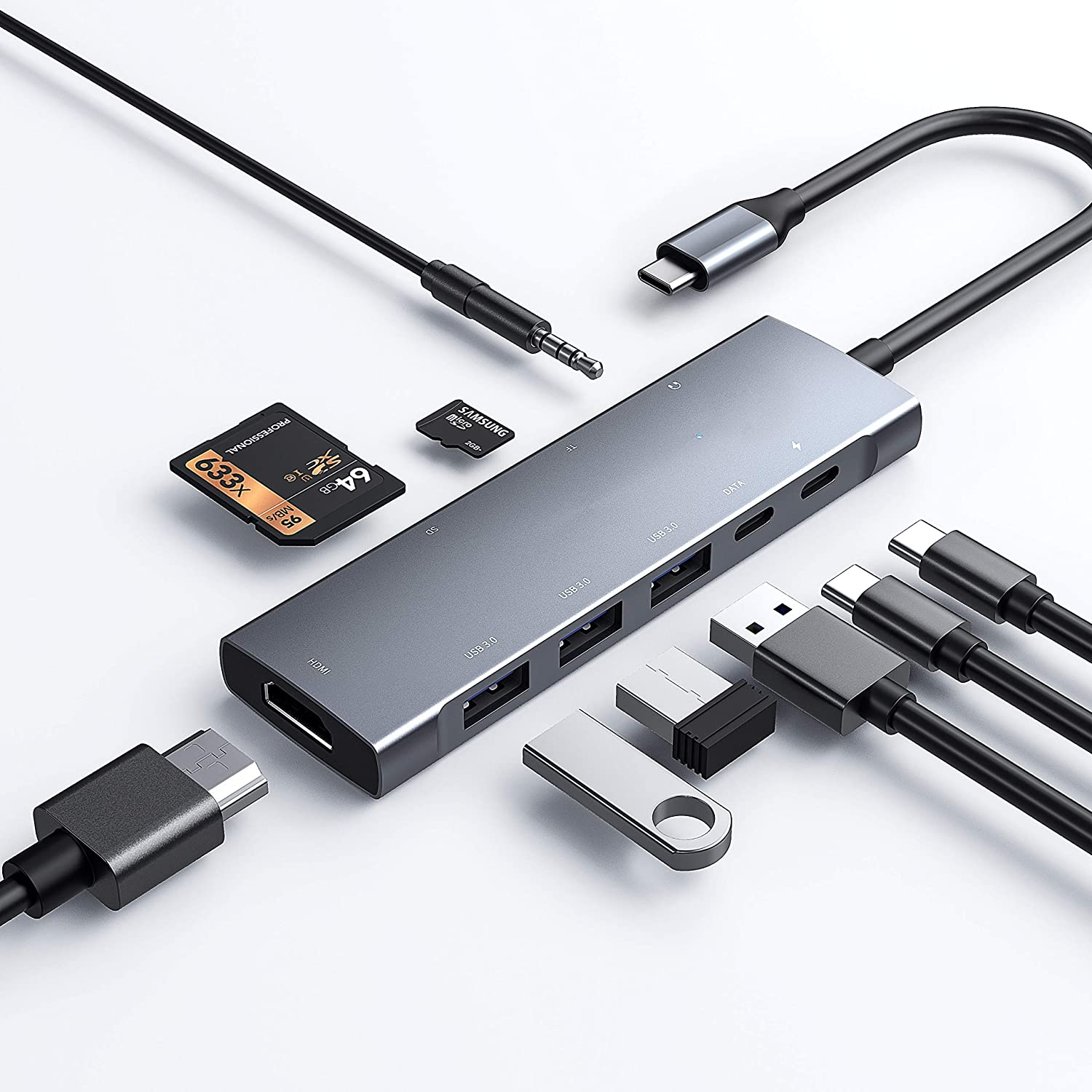 USB C Hub for iPad Pro 11/12.9 2021 2020 2018,iPad Air 4,Type C Multiport Adapter for ChromeBook Samsung MacBook with 4K HDMI,3 USB 3.0,3.5mm Audio,SD/Micro SD Card Slot,60W PD Charging,USB-C 3.0 Data