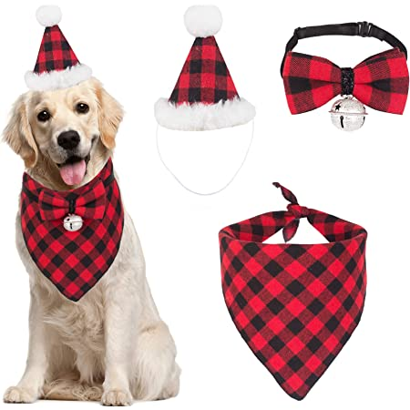 ADOGGYGO Christmas Dog Bandana Hat Bow tie Set Classic Plaid Pet Scarf Triangle Bibs Dog Christmas Costume Decoration Accessories for Small Medium Large Dogs Cats Pets