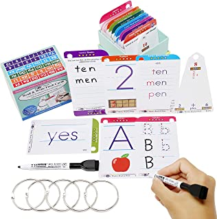 THINK2MASTER Premium 186 Laminated Alphabet, Sight Words & Phonics Flash Cards for PreK & Kindergarten. (Bonus: 2 Dry Erase Markers, 5 Rings). Learn to Read, Write, Count, Add & Subtract Numbers.