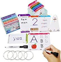 Think2Master Premium 186 Laminated Alphabet, Sight Words & Phonics Flash Cards for PreK & Kindergarten. (Bonus: 2 Dry Erase Markers, 5 Rings). Learn to Read & Write, Count, add & Subtract Numbers.