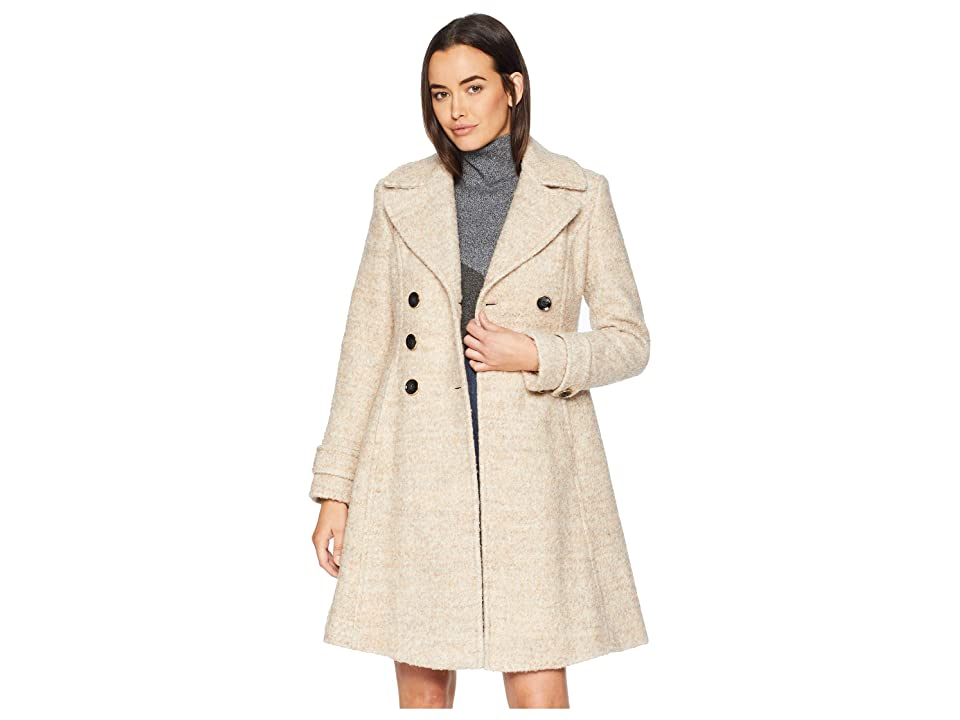 Ivanka Trump Double Breasted Button Boucle Wool Coat (Taupe Melange 2) Women