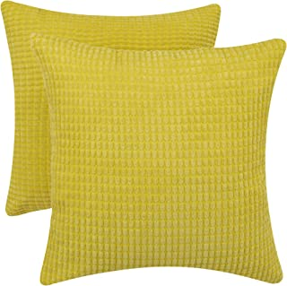 "March Flower Throw Pillow for Couch Sofa Bed Corduroy Corn Striped Cushion Case Decorative Pillows 18""X18"",Set of 2 (Yellow)"