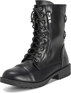 Womens Combat Outside Military Winter Fashion Mid Calf Pocket Zip Boots