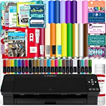 $309 » Silhouette Black Cameo 4 Starter Bundle with 26 Oracal Vinyl Sheets, Transfer Paper, Class, Guides and 24 Sketch Pens
