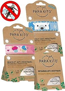 Parakito - Modelo para NIÑO - PROTECCION NATURAL ANTIMOSQUITO - KIT 2 x Para'kito PULSERA repelente de mosquitos (Azul et Rosado) + 1 x Recarga Para'kito Para Pulsera