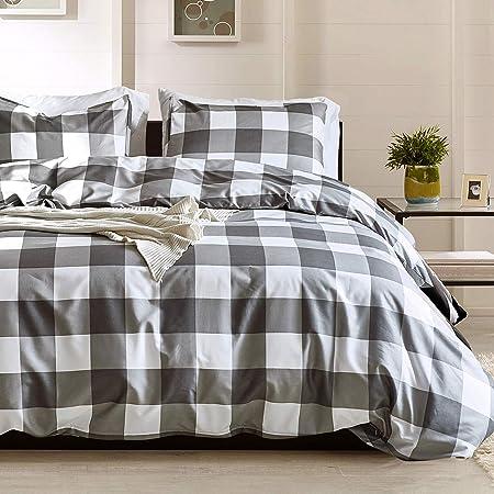Argstar 3 Pcs King Duvet Covers, Buffalo Checked Bedding Set, Black Gray White Plaid Down Comforter Cover, Modern Style Quilt Cover, 100% Ultra Microfiber, 1 Duvet Cover and 2 Pillow Shams