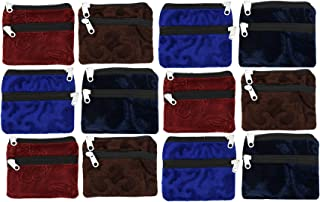 Kuber Industries Velvet 12 Pieces Women Cloth Handy Purse/Coin Pouch/batwa/Wallet with Two Zipper (Multi) - CTLTC039155