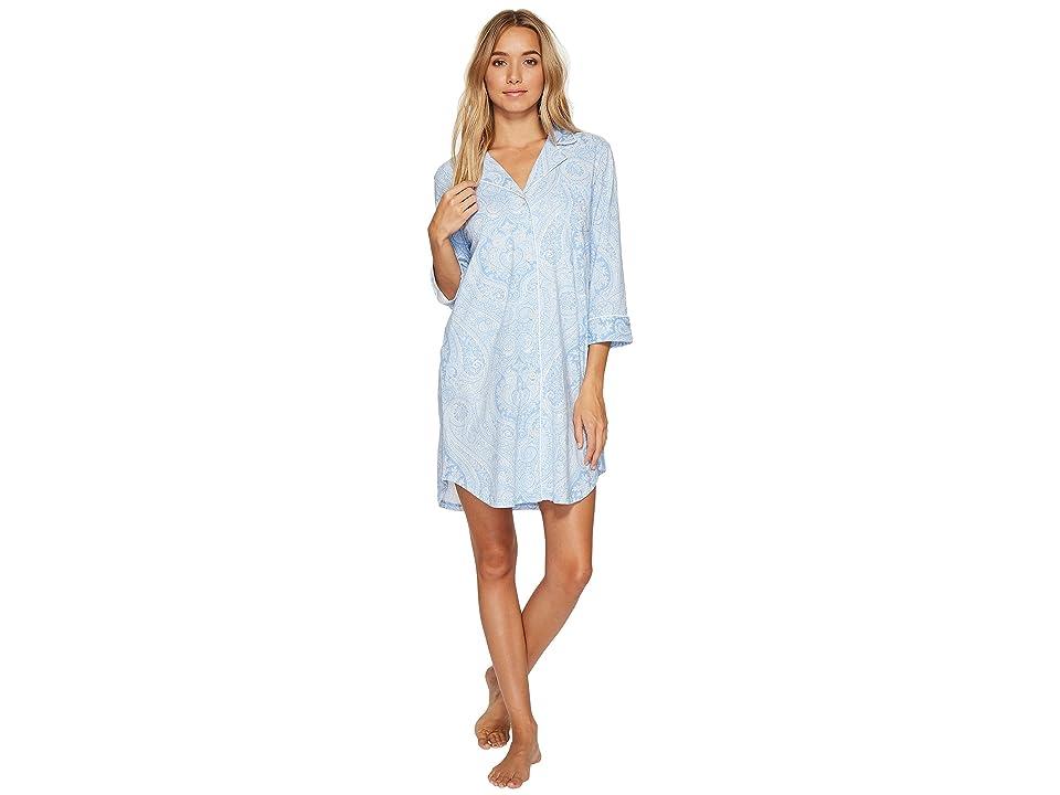 LAUREN Ralph Lauren Essentials Bingham Knits Sleep Shirt (Blue Paisley) Women