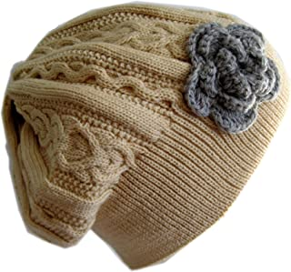Winter Hat for Women Slouchy Beret Hat Cable Knit Beanie M190