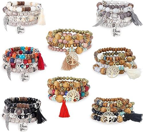 FIBO STEEL 8 Pcs Bohemian Stackable Wood Beads Bracelets for Women Boho Multilayer Stretch Bracelet Set Statement Tas...