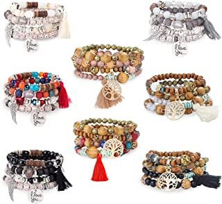 8 Pcs Bohemian Stackable Wood Beads Bracelets for Women Girls Boho Multilayer Stretch Bracelet Set Statement Tassel Bangles