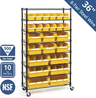 Seville Classics Commercial 8-Tier Black/Yellow NSF 24-Bin Rack Storage System