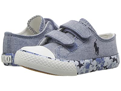 Polo Ralph Lauren Kids Slone EZ (Toddler) (Blue Chambray/Navy Pony Player/Printed Floral Foxing) Girl