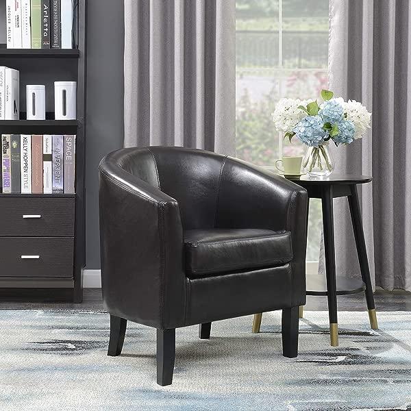 Belleze Modern Arm Club Chair Faux Leather Tub Barrel Style Brown