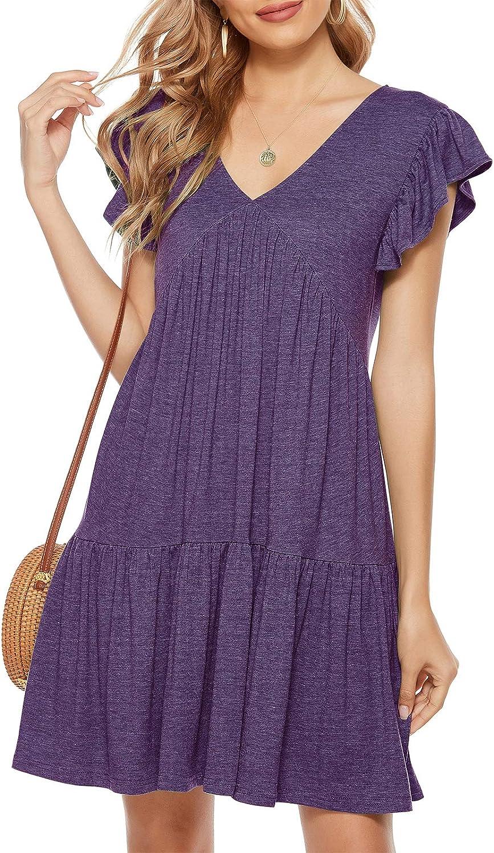 Lyrur Womens Summer T-Shirt Dress V Neck Ruffle Sleeve Badydoll Flowy Mini Tiered Tunic Casual Beach Boho Sundress