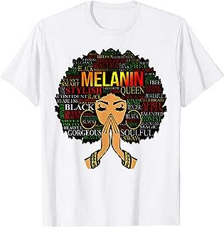 Melanin Words Art T-Shirt Afro Natural Hair Black Queen Gift