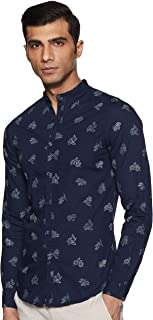 Celio Mens Mandarin Collar Printed Casual Shirt