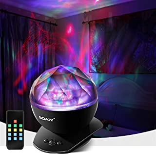 [Upgraded Version] SOAIY Soothing Aurora LED Night Light Projector with UL Certified Adapter,Timer,Remote,Music Speaker,8 ...