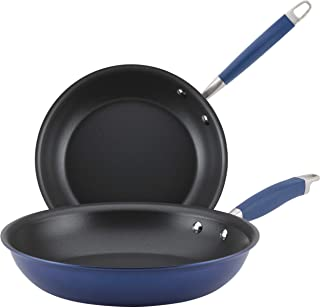 Anolon Advanced Hard Anodized Nonstick Frying Pans Set / Nonstick Skillets, 10 Inch and 12 Inch, Indigo