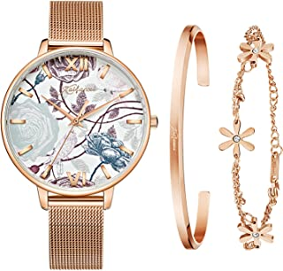 Kaifanxi Women Ultra-Thin Simple Quartz Watch Analog Dial Silver Stainless Steel Case Leather Strap and Stainless Steel Band (Rose Gold)
