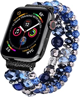 V-MORO Bracelet Compatible with 44mm Series 4 Apple Watch Bands 42mm Women Fashion Handmade Elastic Stretch Beads with Black Stainless Steel Adapters Strap for iWatch Series 4/3/2/1 42mm/44mm Navy