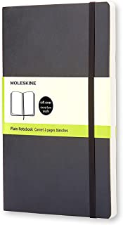 Moleskine Classic Soft Cover Notebook - Plain - Large - Black, (QP618)