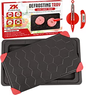 """Zinkitchen Defrosting Tray – Includes Tongs, Kitchen Thermometer – 14"""" x 8"""" –Thawing Tray for Frozen Meat – Rapid Aluminum..."""