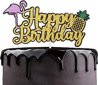 Aloha Flamingo Happy Birthday Cake Topper - Kids Birthday Glitter Flamingo Pineapple Cake Décor - Baby Shower Summer Party Supplies - Tropical Hawaiian Luau Theme Party Decoration