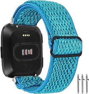 Limque Stretchy Nylon Watch Bands Compatible with Fitbit Versa/Versa 2/Versa Lite/SE,Women Men Soft Breathable Adjustable ...