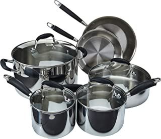 Anolon 31512 Advanced Triply Stainless Steel Cookware Pots and Pans Set, 10 Piece, Onyx