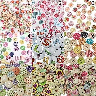 Menolana 50/100 peças de botões de madeira mistos artesanato scrapbook costura de cartões presentes de Natal - C