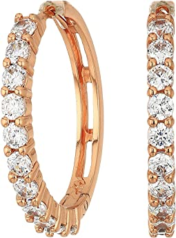Betsey Johnson Blue by Betsey Johnson Crystal Stone Hoop Earrings