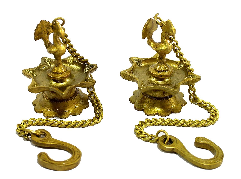 eSplanade - Krishna Wall Hanging Brass Diya with Bells | Oil Lamp | Home Decor | Diya, Deepak, Deepam (Peacock Diya Pair)