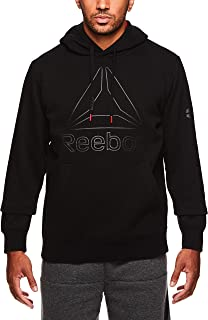 Reebok Men's Performance Pullover Hoodie - Graphic Hooded Activewear Sweatshirt - Black Box Jump, Medium