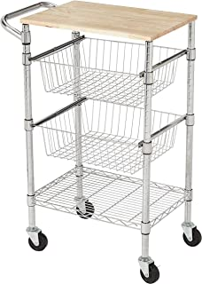 AmazonBasics 3-Tier Metal Basket Rolling Cart with Wood Top